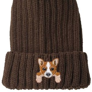 Embroidered Corgi Puppy Chunky Knit Beanie Hat